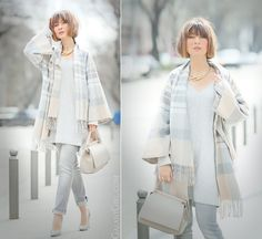 чип энд шик total nude outfit on GalantGirl.com with Asos poncho and coccinelle bag