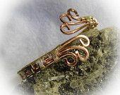 Brass Copper Wire Wrapped Wrap Around  Bangle Bracelet