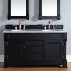 "James Martin Furniture Brookfield 60"" Double Antique Black Bathroom Vanity Set with Drawers Top Finish:"