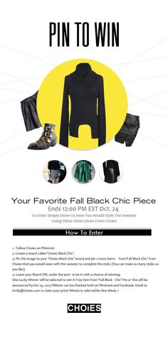 Choies 'Pin to Win' Contest 1. Follow Choies Pinterest 2. Create a board called 'Choies Black Chic' 3. Pin this image to your board and 2 more items from http://www.choies.com/pin-to-win-fall-black-chic to complete the style 4. Leave your board URL Under the Post!