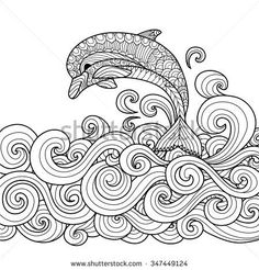 Hand drawn zentangle dolphin with scrolling sea wave for coloring book for adult