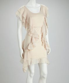 Take a look at this Sand Ruffle Sidetail Dress by Buy in America on #zulily today! $22.99, regular 50.00