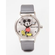 Disney Silver Mickey Mouse Watch ($99) ❤ liked on Polyvore featuring jewelry, watches, silver, disney, mickey mouse watches, silver jewellery, mickey mouse jewelry and silver watches