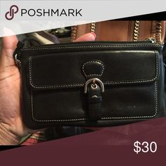 Wristlet Black Leather with silver buckle. Authentic Coach Bags Clutches & Wristlets