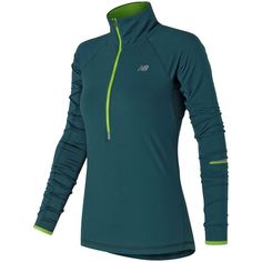 New Balance 71213 Women's Impact Half Zip ($85) ❤ liked on Polyvore featuring activewear, activewear tops, grey, new balance activewear and new balance