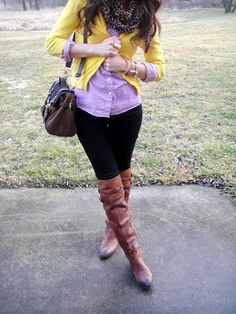 J.Crew cardi+button up, Loft skinnies, Sam Edelman boots, H&M scarf
