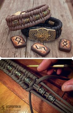 Runic Compass with RuneScript Paracord bracelet with Exclusive brass buckle (Vegvísir with Futhark Diy Bracelets Easy, Bracelet Crafts, Bracelets For Men, Jewelry Crafts, Handmade Jewelry, Paracord Braids, Paracord Knots, Paracord Bracelets, Paracord Bracelet Instructions