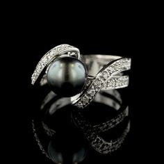 14K White Gold Black Pearl and Diamond Ring