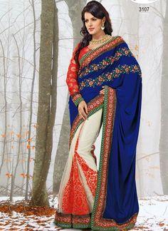 Blue & Red Cotton #Designer #Saree