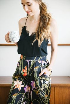 Casual at home outfit with lace cami and floral silk pants perfect for your Spring wardrobe! -@mlovesm