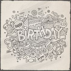3 Birthday Doodles Designs #Ad #Birthday, #SPONSORED, #Doodles, #Designs