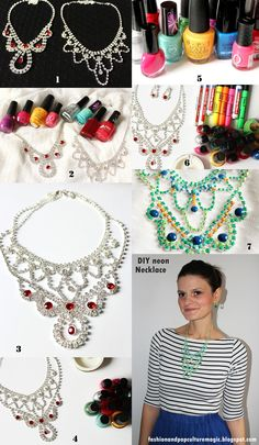 How to make a statement necklace? #tutorial #DIY #doityourself #handmade #crafts #stepbystep #howto #budget #projects #practical #guide #necklace #jewelry #rhinestones
