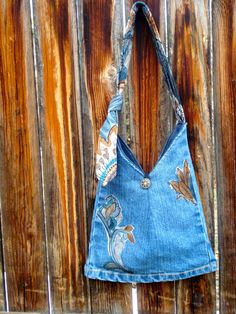 Small denim purse with adjustable necktie handle von RecklessReRuns