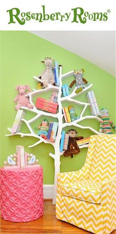 Love all the bright colors and of course that tree bookcase!
