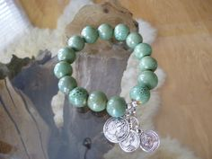 Coin Charms Large Bead Bracelet by ElliTs on Etsy