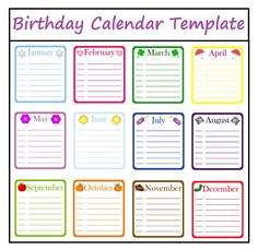 Birthday Calendar Template #Excel Excel Calendar Template, Printable Calendar Template, Templates Printable Free, Free Printables, Holiday Calendar, My Calendar, Print Calendar, Happy Birthday Frame, Birthday Frames