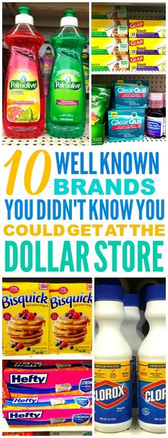 These 10 Brand Names You Can Get at the dollar store are THE BEST! I'm so glad I found these GREAT tips! Now I can save money and know what to buy at the dollar store! Definitely pinning!