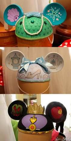 Unique Mickey Mouse Ears - The Little Mermaid, Cinderella, Snow White. Have the little mermaid one and want the Snow White Disney Mickey Ears, Disney Love, Disney Magic, Mickey Mouse, Disney Disney, Disney Fanatic, Disney Merchandise, Disney Crafts, Disney And Dreamworks