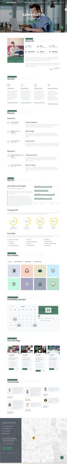 Sam Martin - Personal vCard Resume HTML Template - resume html template