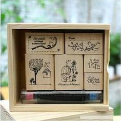 /lot DIY Vintage Retro Wooden Box shinzi katoh Birds Cats Stamp Set for Diary Scrapbooking Designer Gift 1008 Wooden Bird, Wooden Boxes, Retro, Watch Gift Box, Cheap Stamps, Wood Stamp, Cute Stationery, Vintage Birds, Diy Box