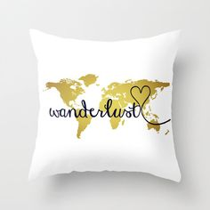 Items similar to 14 x 14 Wanderlust Pillow Cover, Gold World Map Pillow Cover, Glitter Inspirational Word Art, World Map Art Throw Accent Pillow Cover on Etsy Gold World Map, World Map Art, Gold Pillows, Throw Pillows, Accent Pillows, Gold Map, Pillow Slip Covers, Word Art, Gold Foil