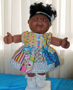 "Cabbage Patch Doll Dress and Panties - fits 16"" doll - Heart design by DiannesCPKfinery on Etsy https://www.etsy.com/listing/219989629/cabbage-patch-doll-dress-and-panties"