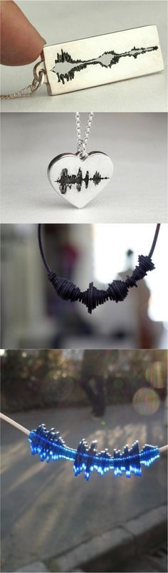 The coolest new technology now lets you wear a message from a loved one in the form of these beautiful sound wave necklaces!   Made on Hatch.co