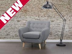 Fotel jasnoszary - tapicerowany - pikowany - MOTALA