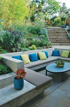 Gardens Are for Living! Sunken outdoor conversation pit with gorgeous landscaping. It reminds me of my years living in a house in the hills of Southern California.