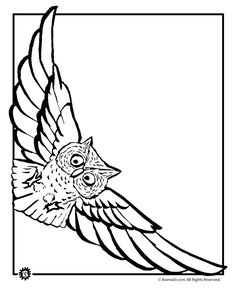 """Owl Coloring Pages Flying Owl Coloring Page – Animal Jr. . to """"deliver"""" the invitations?"""