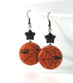 Dangle Earrings  Spiders and Stars for by PatchworkMillJewelry