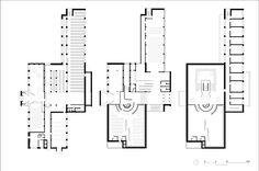 Basement floor, Ground floor, and First floor plans. Alvar Aalto Library in Vyborg. Click above to see larger image.