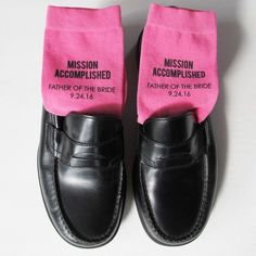 Mission Accomplished! Custom printed socks are a fun gift for the Father of the Bride. Our men's dress socks are available in a variety of colors to match your wedding!