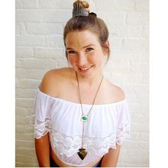 Lf stores off the shoulder cropped top Size S, from Emma and sam, lace and crochet details, very soft and stretchy LF Tops
