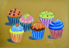 One of the tricks to represent the space is to overlap the shapes in a way such that the position of the objects is perceived as three-dimensional. Although the cupcakes are all the same size, the ... Classroom Art Projects, School Art Projects, Art Classroom, Group Projects, Art Lessons For Kids, Art Lessons Elementary, Art For Kids, Cupcake Painting, Cupcake Art