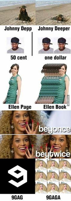 Johnny Depp=>Johnny Deeper 50 cent=>one dollar Ellen Page=>Ellen Book Beyonce=>Beytwice 9GAG=>9GAGA