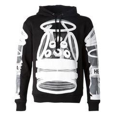 HOOD BY AIR - Graphic Hoodie - S15T2B BLACK - H. Lorenzo (570,805 KRW) ❤ liked on Polyvore featuring tops, hoodies, hood by air, hooded pullover, graphic hoodies, graphic hoodie and sweatshirt hoodies
