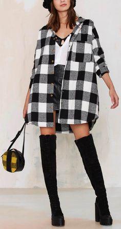 Oversized jacket // basic tee // leather shorts // over the knee boots