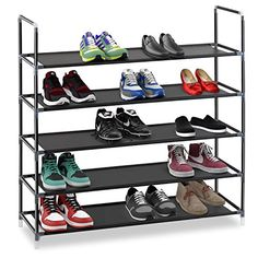 Find amazing Halter 5 Tier Stainless Steel Shoe Rack / Shoe Storage Stackable Shelves - Holds Pairs Of Shoes - x x - Black whale gifts for your whale lover. Great for any occasion!