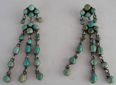 "Vintage Navajo Turquoise Huge 3"" Petite Point Sterling Earrings"