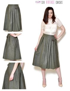 90s a line skirt olive green high waisted high waist wool