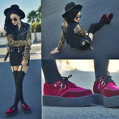 Buy the dark red vegan velvet creepers with the fastest shipping and best  prices direct from T. cc7dfd1d4