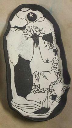 Earth and Sky: black clay and sgrafito white Black Clay, Skull, Earth, Tattoos, Tatuajes, Tattoo, Tattos, Skulls, Sugar Skull