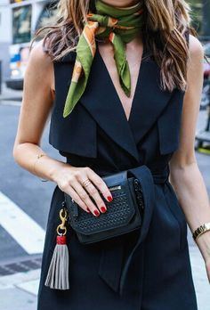 #stylish#louiserow. LBD. black dress.  Scarf. Red nails.