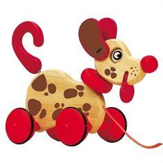 Dog pull along. Avete mai visto un cane tutto di legno che scodinzola, muove la lingua e scuote la testa ogni volta che lo portate a spasso? Trovate il cane a pois da tirare e molti altri giocattoli in legno di alta qualità su http://www.giochiecologici.it/p/129/cane-a-pois-da-tirare