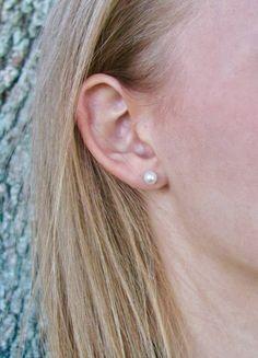 Buy Now Real Pearl Stud Earrings Small Minimal Pearl Post. Real Pearl Earrings, Real Pearls, White Freshwater Pearl, Pearl Studs, Gold Flowers, Buy Now, Minimal, Stuff To Buy, Pearl Stud Earrings