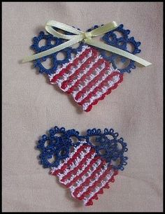 Heislers Creative Stitchery-Tatting and Cloth Doll Supplies, Tatted Patriotic Heart Pin free pattern Annoying ads