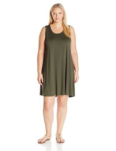Karen Kane Women's Plus Size Olive Green Maggie Trapeze Dress