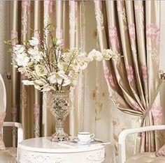 """IYUEGO Art Deco Jacquard Faux Silk Multi Floral Grommet Top Lining Blackout Curtains Drapes 84"""" W x 96"""" L (One Panel)"""