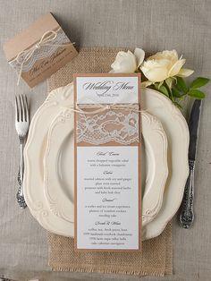 Rustic country burlap and lace wedding menu #weddingideas #countrywedding…